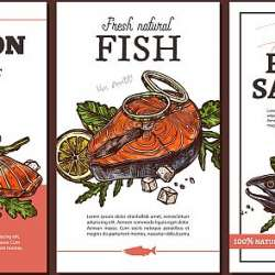 Design,Of,Cards,,Posters,,Labels,Or,Tags,For,Fish,Meat,